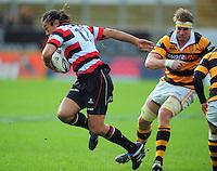 Tana Umaga beats Taranaki captain Craig Clarke. ITM Cup rugby match - Taranaki v Counties-Manukau Steelers at Yarrow Stadium, New Plymouth, New Zealand on Sunday 12 September 2010. Photo: Dave Lintott/lintottphoto.co.nz.