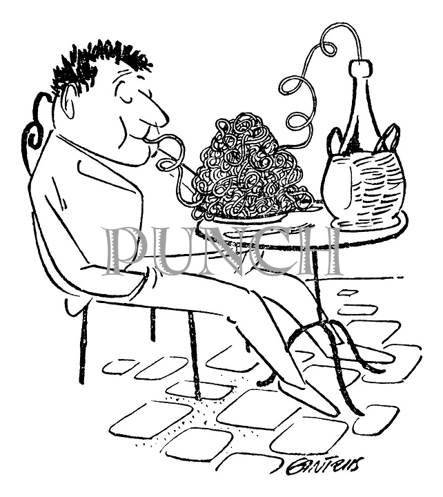 (Man at a cafe using a plate of spaghetti as a straw to drink wine from a bottle)