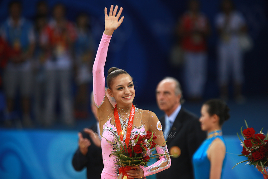 August 23, 2008; Beijing, China; Rhythmic gymnast Evgenia Kanaeva of Russia celebrates winning gold in the Individual All-Around final at 2008 Beijing Olympics..(©) Copyright 2008 Tom Theobald