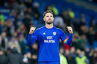 Cardiff City captain Sean Morrison celebrates with the fans at full time of the Sky Bet Championship match between Cardiff City and Norwich City at the Cardiff City Stadium, Cardiff, Wales on 1 December 2017. Photo by Mark  Hawkins / PRiME Media Images.