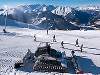 "Switzerland. Canton Valais. Ski in Verbier at  "" Les Ruinettes"" ( 2200 meters ). Snow blower and crawler ratrack. Verbier is a village located in the municipality of Bagnes. The village lies on a south orientated terrace at around 1,500 metres facing the Grand Combin massif. The terrace lies on the east side of the Val de Bagnes. Verbier is one of the largest holiday resort and ski areas in the Swiss Alps. 3.01.2012 © 2012 Didier Ruef *** Local Caption *** ."