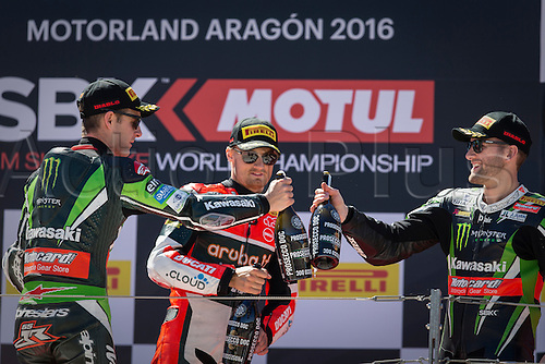 02.04.2016. Motorland, Aragon, Spain. World Championship Motul FIM of Superbikes. Jonathan Rea #1, Kawasaki ZX-10R rider of Superbike, Chaz Davies #7, Ducati 1199 Panigale R rider of Superbike  and Tom Sykes #66, Kawasaki ZX-10R rider of Superbike on podium after the race  in the World Championship Motul FIM of Superbikes from the Circuito de Motorland.