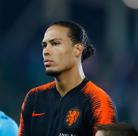 16th November 2019; Windsor Park, Belfast, Antrim County, Northern Ireland; European Championships 2020 Qualifier, Northern Ireland versus Netherlands; Virgil van Dijk (c) of Netherlands during the playing of the national anthems  - Editorial Use
