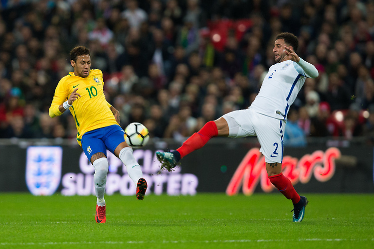 Brazil&rsquo;s Neymar Jr vies for possession with England's Kyle Walker <br /> <br /> Photographer Craig Mercer/CameraSport<br /> <br /> The Bobby Moore Fund International - England v Brazil - Tuesday 14th November 2017 Wembley Stadium - London  <br /> <br /> World Copyright &copy; 2017 CameraSport. All rights reserved. 43 Linden Ave. Countesthorpe. Leicester. England. LE8 5PG - Tel: +44 (0) 116 277 4147 - admin@camerasport.com - www.camerasport.com