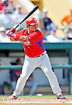 9 March 2012: Philadelphia Phillies catcher Carlos Ruiz in action during a Spring Training game against the Detroit Tigers at Joker Marchant Stadium in Lakeland, Florida. The Phillies defeated the Tigers 7-5 in Grapefruit League action. Mandatory Credit: Ed Wolfstein Photo