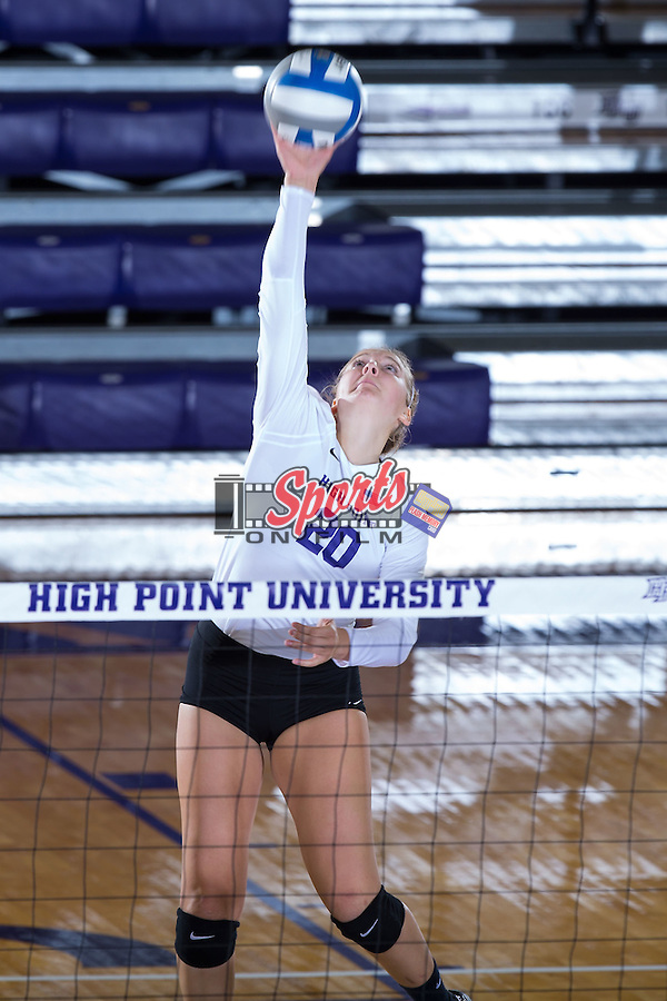 Haley Barnes (20) of the High Point Panthers attacks the ball during the match against the Wake Forest Demon Deacons at the Panther Invitational at the Millis Athletic Center on September 12, 2015 in High Point, North Carolina.  The Demon Deacons defeated the Panthers 3-1.   (Brian Westerholt/Sports On Film)