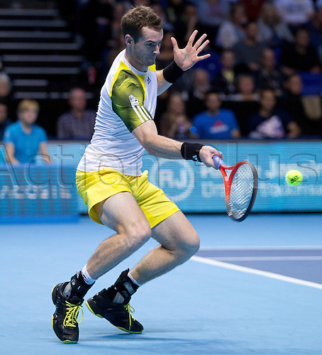 07.11.2012 London, England.  Andy Murray in action against Novak Djokovic during the Barclays ATP World Tour Finals from the 02 Arena.