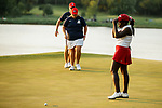 STILLWATER, OK - MAY 23: Lakareber Abe of Alabama reacts to missing the putt that would cost her team the national championship during the Division I Women's Golf Team Match Play Championship held at the Karsten Creek Golf Club on May 23, 2018 in Stillwater, Oklahoma. (Photo by Shane Bevel/NCAA Photos via Getty Images)
