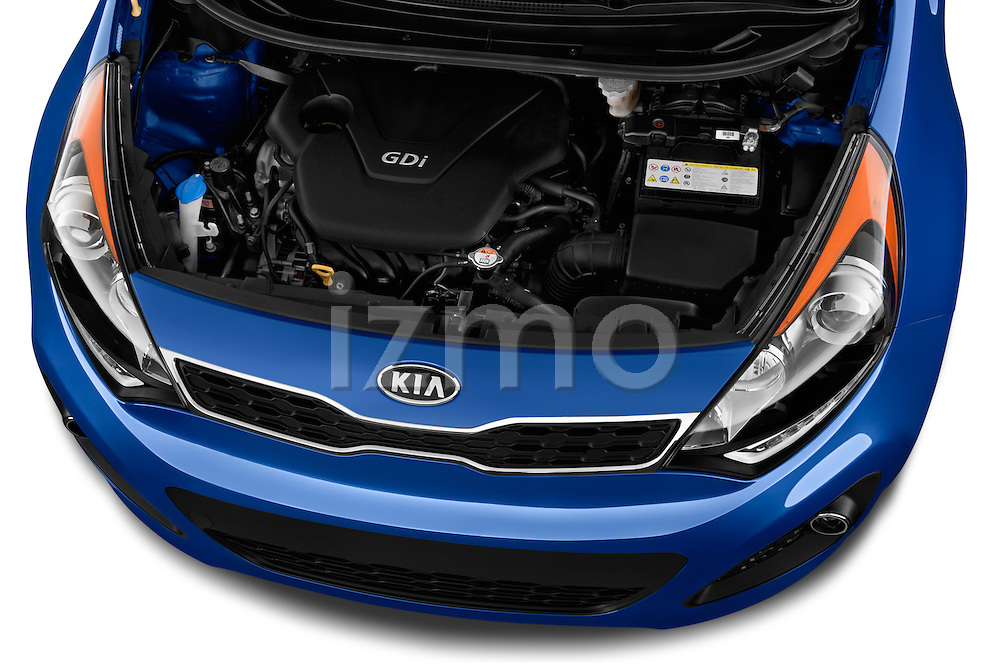 Car Stock 2015 KIA Rio AT SX 5 Door Hatchback 2WD Engine high angle detail view
