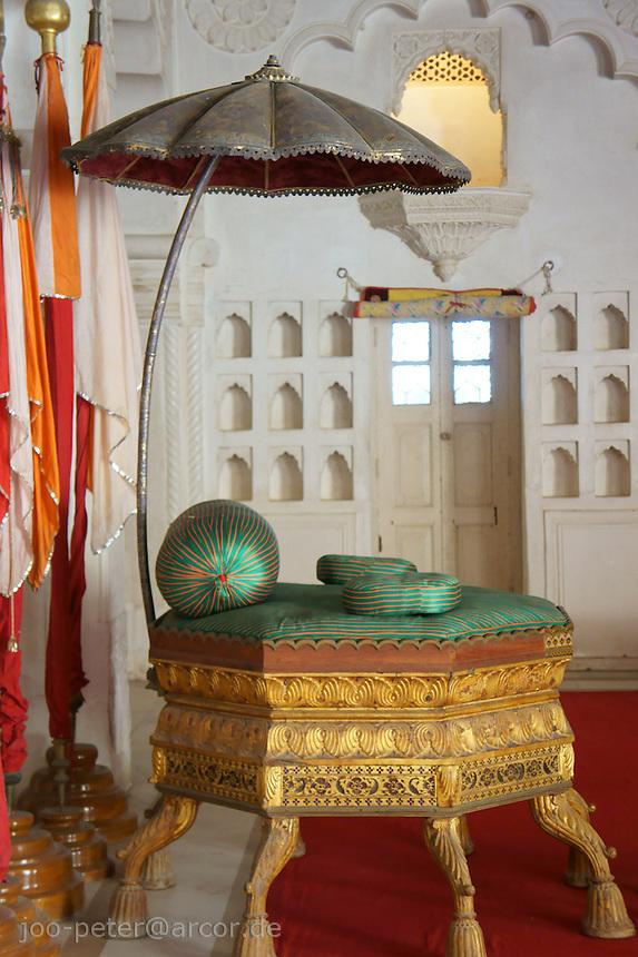 Maharaja throne in palace of Fort Mehrangarh,  Jodhpur, Rajastan, India