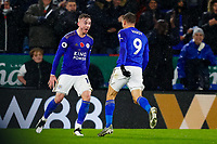 9th November 2019; King Power Stadium, Leicester, Midlands, England; English Premier League Football, Leicester City versus Arsenal; James Maddison of Leicester City celebrates his goal with Jamie Vardy after 74 minutes (2-0) - Strictly Editorial Use Only. No use with unauthorized audio, video, data, fixture lists, club/league logos or 'live' services. Online in-match use limited to 120 images, no video emulation. No use in betting, games or single club/league/player publications