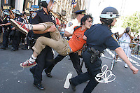 Demonstrators are arrested on 34th Street near 6th ave. during a march by the anti-war group United for Peace and Justice on Sunday, August 29, 2004.