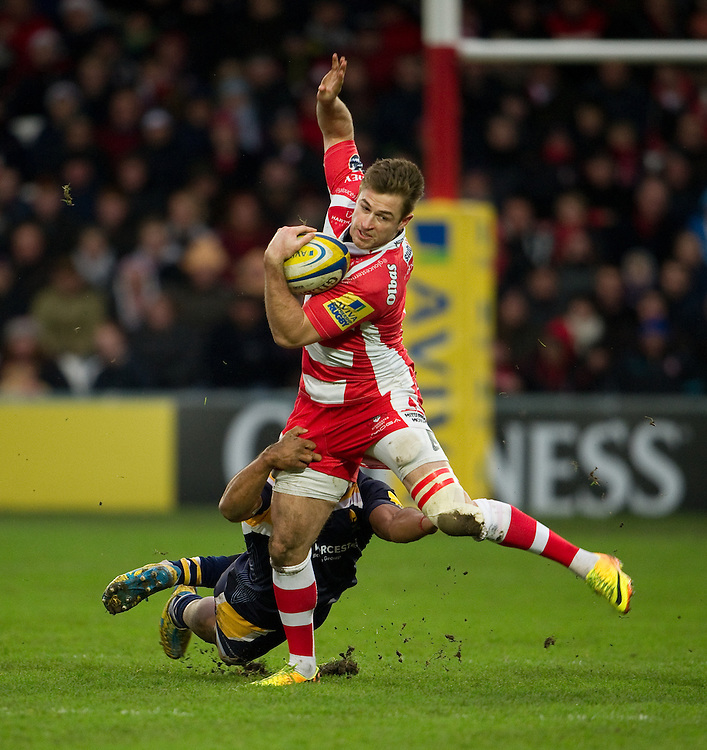 Gloucester Rugby's Henry Trinder in action during today's match against Worcester Warriors<br /> <br /> Photo by Ashley Western/CameraSport<br /> <br /> Rugby Union - Aviva Premiership - Gloucester Rugby v Worcester Warriors - Sunday 22nd December 2013 - Kingsholm - Gloucester<br /> <br /> &copy; CameraSport - 43 Linden Ave. Countesthorpe. Leicester. England. LE8 5PG - Tel: +44 (0) 116 277 4147 - admin@camerasport.com - www.camerasport.com