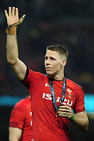 Pictured: Liam Williams of Wales celebrates at full time during the Guinness six nations match between Wales and England at the Principality Stadium, Cardiff, Wales, UK.<br /> Saturday 23 February 2019