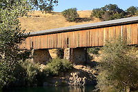 The 330-foot Knights Ferry covered bridge in Stanislaus County, California