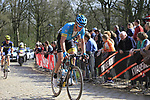 Matti Breschel (DEN) Astana on the famous cobbled climb of Kemmelberg during Gent-Wevelgem in Flanders Fields 2017 running 249km from Denieze to Wevelgem, Flanders, Belgium. 26th March 2017.<br /> Picture: Eoin Clarke | Cyclefile<br /> <br /> <br /> All photos usage must carry mandatory copyright credit (&copy; Cyclefile | Eoin Clarke)