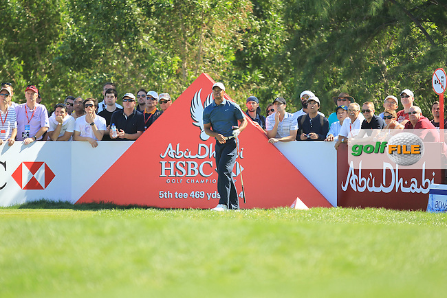 Tiger Woods (USA) on the 5th during the second round at the Abu Dhabi HSBC Golf Championship in the Abu Dhabi golf club, Abu Dhabi, UAE..Picture: Fran Caffrey/www.golffile.ie.