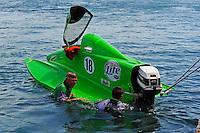 26  July, 2009, Trenton, Michigan USA.Jason Nelson (#18) and crewmember Daryl Balcom go for a swim..©2009 F.Peirce Williams USA.SST-45 class