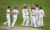 PICTURE BY VAUGHN RIDLEY/SWPIX.COM - Cricket - County Championship, Div 2 - Yorkshire v Northamptonshire, Day 1  - Headingley, Leeds, England - 20/05/12 - Yorkshire's Mitchell Starc celebrates bowling Northamptonshire's Alex Wakely with teammates.