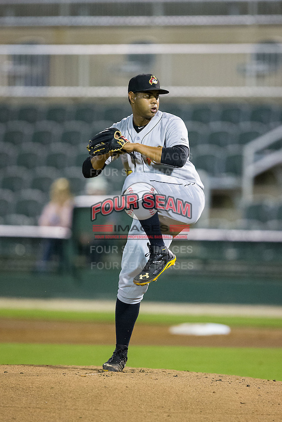 West Virginia Power starting pitcher Jose Regalado (22) in action against the Kannapolis Intimidators at CMC-Northeast Stadium on April 21, 2015 in Kannapolis, North Carolina.  The Intimidators defeated the Power 2-1 in game two of a double-header.  (Brian Westerholt/Four Seam Images)