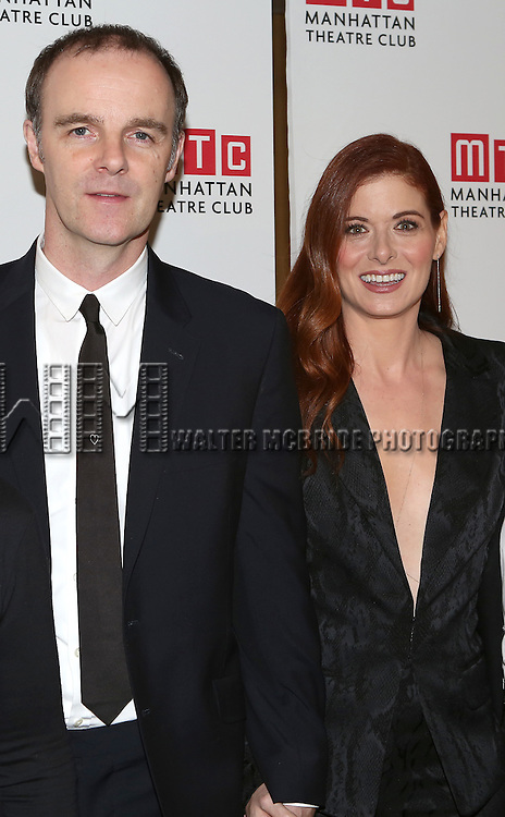 Debra Messing and Brian F. O'Byrne attend the 'Outside Mullinger' Broadway opening night after party at The Copacabana on January 23, 2014 in New York City.