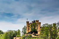 Hohenschwangau Castle, Fussen Germany. The existence of the Hohenschwangau castle was documented in the 12th century. Until 1535 it remained in the possession of the Knights of Schwangau. Successive wars over the centuries left the castle in ruins. These were bought in 1832 by Crown Prince Maximilian who reconstructed the castle according to the original plans. It subsequently became a residence of the royal family and, following the death of King Maximilian, the home of King Ludwig II and his mother.