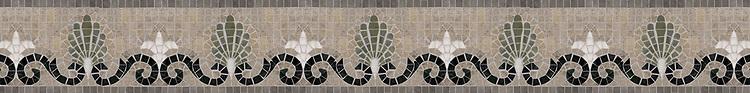 "Goddess 5"" stone mosaic border, a hand-cut mosaic shown in honed Montevideo, Jura Grey, polished Nero Marquina, Verde Luna, and Calacatta."