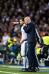 Manager Zinedine Zidane of Real Madrid talks to Nacho Fernandez of Real Madrid during the UEFA Champions League Semi-final 2nd leg match between Real Madrid and Bayern Munich at the Estadio Santiago Bernabeu on May 01 2018 in Madrid, Spain. Photo by Diego Souto / Power Sport Images