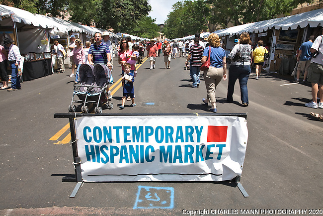 Spanish Market, which is held each July on the plaza in Santa Fe, New Mexico features both traditional and contemporary art.