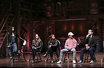 Stephanie Klemons, Eliza Ohman, Sasha Hollinger, Jordan Fisher and Rory O'Malley from 'Hamilton' greet High School students from The Rockefeller Foundation, and The Gilder Lehrman Institute of American History before a 'Hamilton' matinee performance at the Richard Rodgers Theatre on 11/30/2016 in New York City.