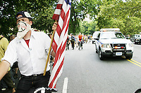 "Members of the group ""Democracy Uprising!""  arrive in New York City on their DNC2RNC march on August 26, 2004. <br /> <br /> DNC2RNC was a 258 mile march from the Democratic National Convention in Boston to the Republican National Convention in New York City organized by the group ""Democracy Uprising!"".  The protest covered approximately 10 miles a day for the 30 days in between the conventions, with several days allocated for community work and rest.  Food was provided by ""The Seeds of Peace"" bio-diesel kitchen and housing was provided by various benefactors along the route.  <br /> <br /> The march was inspired by the restrictions placed on protesters in general by both cities and sought to create both awareness of this fact and a space where the typical ""police versus protester"" dynamic was not the norm.  The march arrived peacefully in New York City on August 26th although there was a heavy police presence at its press conference in Columbus Square and its subsequent march to Union Square."