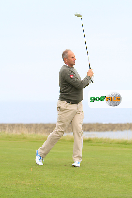Sir Steve Redgrave during Round 2 of the Alfred Dunhill Links Championship at Kingsbarns Golf Club on Friday 27th September 2013.<br /> Picture:  Thos Caffrey / www.golffile.ie