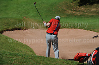 Tv personality Rob Brydon trying to get out a bunker during The 2017 Celebrity Cup golf tournament at the Celtic Manor Resort, Newport, South Wales. 1.07.2017 <br /> <br /> <br /> Jeff Thomas Photography -  www.jaypics.photoshelter.com - <br /> e-mail swansea1001@hotmail.co.uk -<br /> Mob: 07837 386244 -