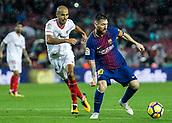 4th November 2017, Camp Nou, Barcelona, Spain; La Liga football, Barcelona versus Sevilla; Leo Messi holds off the challenge of Pizarro of Sevilla