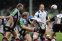 Twickenham, GREAT BRITAIN,  Quins gareth WILLIAMS clears from the back of the scrum, during the EDF Energy Cup rugby match, Harlequins vs London Irish, at Twickenham Stoop, Surrey on Sat 25.10.2008 [Photo, Peter Spurrier/Intersport-images]