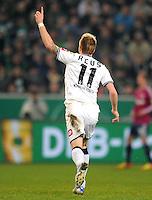 Fussball DFB Pokal:  Saison   2011/2012  Achtelfinale  21.12.2011 Borussia Moenchengladbach - FC Schalke 04 Jubel nach dem Tor zum 2:0. Marco Reus (Borussia Moenchengladbach)