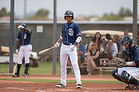 San Diego Padres shortstop Justin Lopez (50) during a Minor League Spring Training game against the Seattle Mariners at Peoria Sports Complex on March 24, 2018 in Peoria, Arizona. (Zachary Lucy/Four Seam Images)