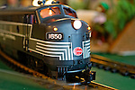 Dec. 26, 2012 - Garden City, New York, U.S. - The Long Island Garden Railway Society large-scale model train display is a festive winter holiday attraction in the vast 3-floor atrium of Cradle of Aviation museum, until shortly after New Years Day 2013. This is close-up of a G-scale New York Central engine. LIGRS shares the knowledge, fun, and camaraderie of large-scale railroading both indoors and in the garden, and is family oriented.