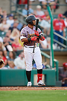 Rochester Red Wings third baseman Gregorio Petit (4) at bat during a game against the Lehigh Valley IronPigs on June 29, 2018 at Frontier Field in Rochester, New York.  Lehigh Valley defeated Rochester 2-1.  (Mike Janes/Four Seam Images)