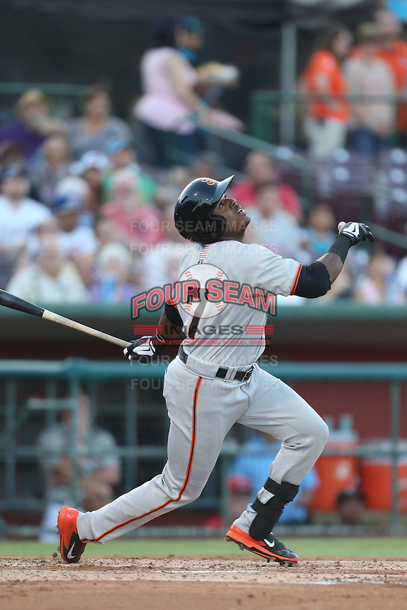 Shawn Payne #7 of the San Jose Giants bats against the Inland Empire 66ers at San Manuel Stadium on May 31, 2014 in San Bernardino, California. Inland Empire defeated San Jose, 4-0. (Larry Goren/Four Seam Images)