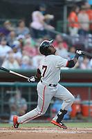 Shawn Payne #7 of the San Jose Giants bats against the Inland Empire 66ers at San Manuel Stadium on May 31, 2014 in San Bernardino, California. Inland Empire defeated San Jose, 4-0. (Larry Goren/Four Seam Images)