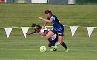 Kansas City, MO - Saturday July 16, 2016: Francisca Ordega, Brittany Taylor during a regular season National Women's Soccer League (NWSL) match between FC Kansas City and the Washington Spirit at Swope Soccer Village.