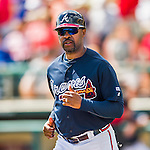14 March 2016: Atlanta Braves third base coach Bo Porter trots onto the field during a Spring Training pre-season game against the Tampa Bay Rays at Champion Stadium in the ESPN Wide World of Sports Complex in Kissimmee, Florida. The Braves shut out the Rays 5-0 in Grapefruit League play. Mandatory Credit: Ed Wolfstein Photo *** RAW (NEF) Image File Available ***
