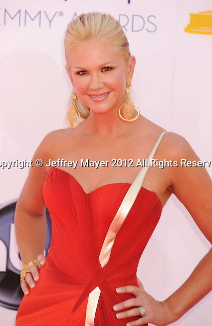 LOS ANGELES, CA - SEPTEMBER 23: Nancy O'Dell  arrives at the 64th Primetime Emmy Awards at Nokia Theatre L.A. Live on September 23, 2012 in Los Angeles, California.