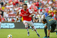 Landover, MD - July 23, 2019: Arsenal Pierre-Emerick Aubameyang (14) scores a goal during the match between Arsenal and Real Madrid at FedEx Field in Landover, MD.   (Photo by Elliott Brown/Media Images International)