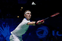 15th March 2020, Arena Birmingham, Birmingham, UK;  Viktor Axelsen competes during the mens singles final match between Viktor Axelsen of Denmark and Chou Tien Chen of Chinese Taipei at All England Badminton 2020 in Birmingham