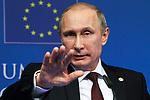 Russian President, Vladimir PUTIN in the Council of Europe in Brussels in press conference, January 28, 2014 in Brussels. Mr. Putin comes to Brussels Tuesday for the annual European Union-Russia summit. Photo by Delmi Alvarez/ZUMAPRESS.
