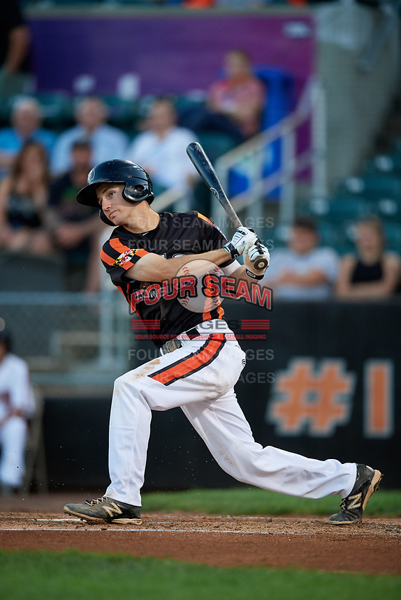 Aberdeen IronBirds shortstop Adam Hall (1) hits a foul ball during a game against the Staten Island Yankees on August 23, 2018 at Leidos Field at Ripken Stadium in Aberdeen, Maryland.  Aberdeen defeated Staten Island 6-2.  (Mike Janes/Four Seam Images)