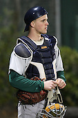 February 20, 2010:  Catcher Dan Gasapo (44) of the Siena Saints during the season opener at Melching Field at Conrad Park in DeLand, FL.  Siena defeated Stetson by the score of 8-4.  Photo By Mike Janes/Four Seam Images