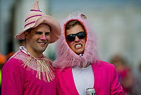 LOUISVILLE, KY - MAY 04: Two fans dressed as a pink scarecrow and a pink lion on Kentucky Oaks Day at Churchill Downs on May 4, 2018 in Louisville, Kentucky. (Photo by Eric Patterson/Eclipse Sportswire/Getty Images)